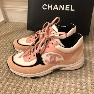 New In Box Authentic Chanel Sneakers Pink CC 38.5